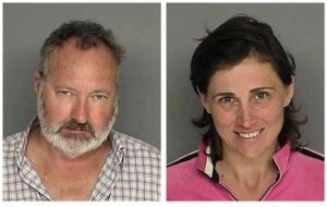 FILE - In these Sept. 18, 2010 file images originally provided by the Santa Barbara County Sheriff's Office, actor Randy Quaid and his wife Evi Quaid, are shown after their Saturday Sept. 18, 2010 arrest on charges of felony residential burglary and entering a non-commercial building without consent. A prosecutor says Randy Quaid and his wife have failed to show up at a court hearing stemming from their arrests last month on suspicion of illegally squatting at a home. Santa Barbara Senior Deputy District Attorney Lee Carter says a judge issued $50,000 warrants for the couple after they failed to appear for an arraignment on felony vandalism charges. Carter says the couple's case will be called again on Oct. 26. (AP Photo/Santa Barbara County Sheriff)